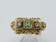 schöner Art Deco Turmalin Diamant Ring 585 Gold 0,45ct Gr. 53