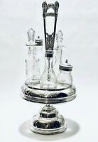 Fabulous antique Adelphi NY Silver Plated & 5 Glass Cruet Castor Condiment Set