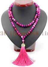 Natural 8mm Pink Striped Agate 108 Mala Prayer Beads Buddhist AAA