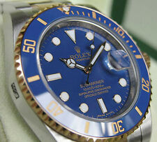 Rolex SUBMARINER 116613 Mens Steel & Yellow Gold Blue Bezel 40MM Blue Dial Paper