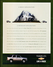 2001 Chevy Tahoe Z71 Sport - Classic Car Advertisement Print Ad J86