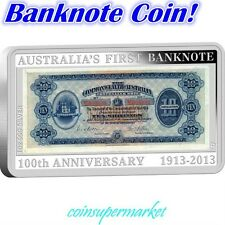 2013 First Australia Banknote 100th Rectangular Silver Proof Coin & Stamps Set!
