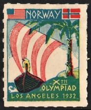 Xth Olympiade Poster Stamp: Norway (1932) No Gum