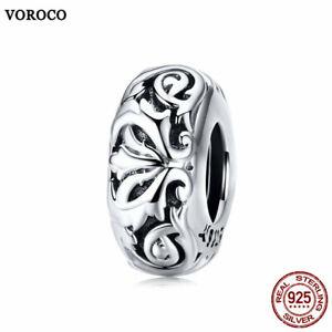 VOROCO Vintage 925 Sterling Silver Vintage Flower Charm Beads Fit Charm Bracelet