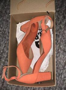 Bared Tangerine Nubuck Heels In Kea Size 10/41 Worn Once RRP $259