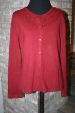 Norton McNaughton Womens Burgundy Embellished Red Cardigan Sweater SZ L NWT