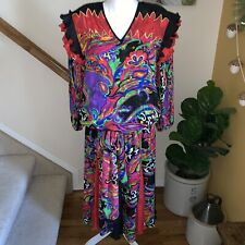 Diane Freis Colorful Green Georgette Print Ruffle Gypsy Vintage Dress 1980s