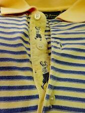 $125 EUC Bobby Jones Yellow and Blue Striped Short Sleeve Golf Polo Size L 07141