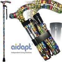 6Folding & Extendable Patterned Walking Stick - Colour Mosaic - *QUALITY* BNIB