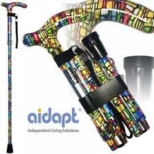 Folding & Extendable Patterned Walking Stick - Colour Mosaic - *QUALITY* BNIB