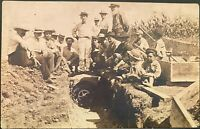Real Photo Postcard RPPC ~ Men & Boys At Work Installing Water Pipe ~ Occupation