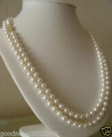 """AAA 6-7mm White Akoya Cultured Pearl Necklace 50"""" 14K Yellow Gold"""