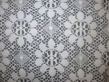 """VTG 1950's 1960's White Floral Nottingham Mesh Lace per Yard x 53"""" New Old Stock"""