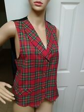 The Villager Petite Plaid Vest Size PL Holiday Short Waisted  Gold Tone Buttons