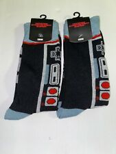 (SET OF 2) Nintendo Controller Crew Socks,Size 10-13, Gray/Black, NWT