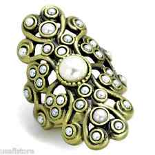 Ladies Synthetic Pearl Antique Copper Plated Fashion Ring Size 8