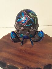 Antique Chinese Enamel Export Silver Egg Box with Fish
