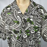 New Zealand Maori Tribal Tapa Floral Tropical Aloha Shirt 4XL Mens Cotton 57in