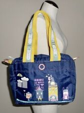 LeSportsac Artist in Residence Navy blue satchel tote bag purse