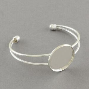 2 x Silver Bracelets Bangle Blanks Cabochon Settings Resin jewellery trays