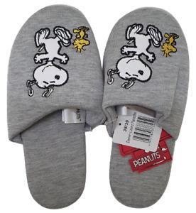 Peanuts Ladies Women's Grey Novelty Snoopy Slip On Mule Slippers Size 3 4 5 6 7