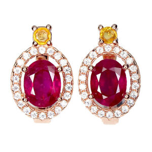 Oval Red Ruby 8x6mm Cz 14K Rose Gold Plate 925 Sterling Silver Earrings
