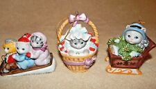 Lot of 3 - Kitty Cucumber Cat Kitten Ornaments by Schmid - 1985 - Rare Set!