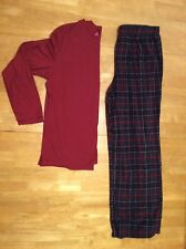 Mens PAJAMAS Set size L Red Cotton Polyester Tee T SHIRT Gray Plaid Fleece PANTS