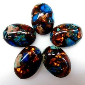 5Pcs Sea Sediment Jasper Gold Copper Bornite Stone Oval CAB CABOCHON 25*18*6mm