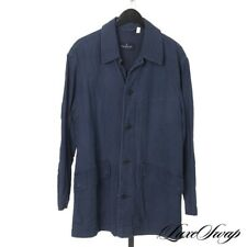 Ermenegildo Zegna Made in Italy Indigo Garment Washed Pique Yachting Chore Coat