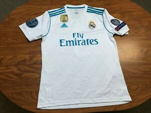 MENS USED ADIDAS 2017 REAL MADRID FIFA WORLD CHAMPIONS SOCCER JERSEY SIZE LARGE