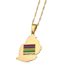 mauritius map mauritius national flag stainless steel 60 cm chain necklace