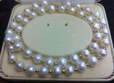 REAL NOBLEST AAA+ 9-10MM AKOYA WHITE NATURAL PEARL NECKLACE 18''