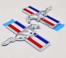 2x Chrome Tri-bar Running Pony Horse Door Fender Side Emblem Badge for Mustang