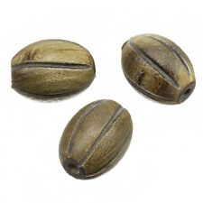 Hand Carved Burnt Oval Melon Horn Bone Beads 20x15mm Pack of 3 (B41/10)