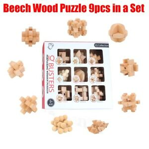 Adults IQ Brain Teaser Cube Kong Ming Lock Wooden Puzzle Educational Game Toy