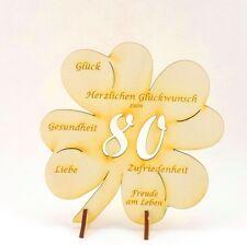 80.Geburtstag, Glückwünsche auf einem Kleeblatt, Tischdeko Geschenk 11cm