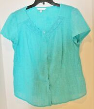 Croft & Barrow Womens Button Up Blouse Top -Boat Neck - Turquoise Blue -Med -EUC