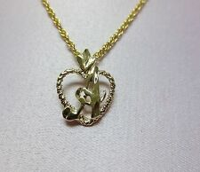 """14KT GOLD EP PERSONALIZED LETTER A HEART INITIAL WITH AN 18"""" ROPE CHAIN"""