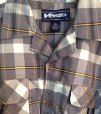 Veezo XL Men's Shirt Fishing Outdoors Short Sleeve Plaid Gray White Polyester
