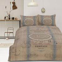 Retro Cargo Signs Vintage Natural Quilt Doona Cover Set SINGLE DOUBLE QUEEN KING