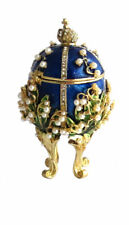"Copie oeuf Fabergé bleu -Boite - "" Le Muguet"""