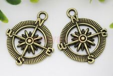 Lot 10/20pcs Antique Silver/Bronze compass Jewelry Finding Charm Pendant 30x25mm