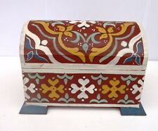 HAND PAINTED CEDAR WOOD  TRUNK / CHEST  JEWELLERY BOX ~ TRINKETS