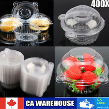 400pcs Clear Plastic Cupcake Boxes Cake Packing Boxes Muffin Pod Dome Box CA