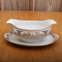 Vintage Noritake Nippon Japan Blue and Pink Flower Pattern Gravy Bowl With Plate