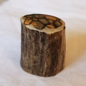 "RARE ""WOODEN"" TREE STUMP TRUNK BARK HAND CRAFTED THIMBLE COLLECTABLE"