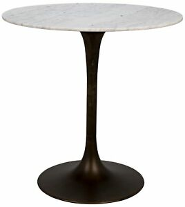 """40"""" W Noel Bar Table Solid Marble Top Aged Brass Metal Modern Contemporary"""