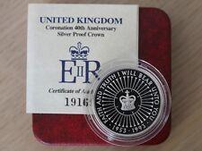 1993 Coronation 40th Anniversary £5 Five Pound Silver Proof Coin Box Coa X25