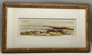 DAVID LEVINE (1926-2009) Original Watercolor Coastal Beach Painting 1959